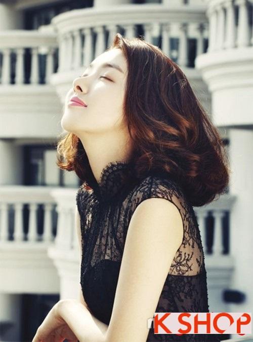 Kiểu tóc ngắn uốn xoăn ngang vai Hàn Quốc đẹp trẻ trung dạo phố hè 2017 phần 8