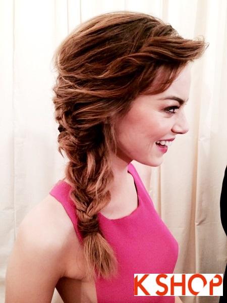 Kiểu tóc tết lệch vai đẹp quyến rũ cực dễ thương của nữ diễn viên Emma Stone phần 2