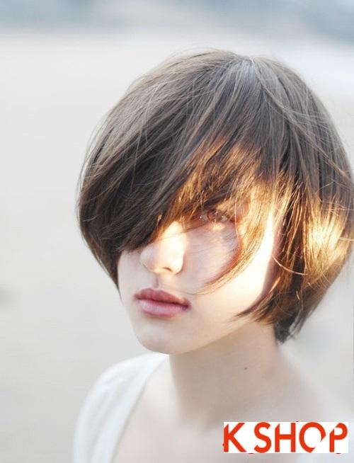 Mẫu Tóc ngắn Hàn Quốc đẹp cho bạn gái khuôn mặt tròn dễ thương cực đáng yêu 2017 phần 11