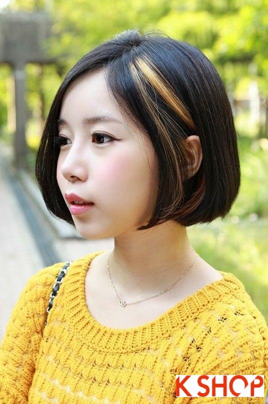 Mẫu Tóc ngắn Hàn Quốc đẹp cho bạn gái khuôn mặt tròn dễ thương cực đáng yêu 2017 phần 5