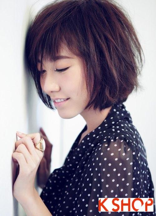 Mẫu Tóc ngắn Hàn Quốc đẹp cho bạn gái khuôn mặt tròn dễ thương cực đáng yêu 2017 phần 7