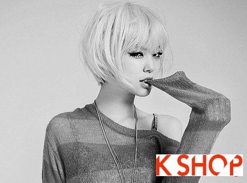 Mẫu Tóc ngắn Hàn Quốc đẹp cho bạn gái khuôn mặt tròn dễ thương cực đáng yêu 2017 phần 8