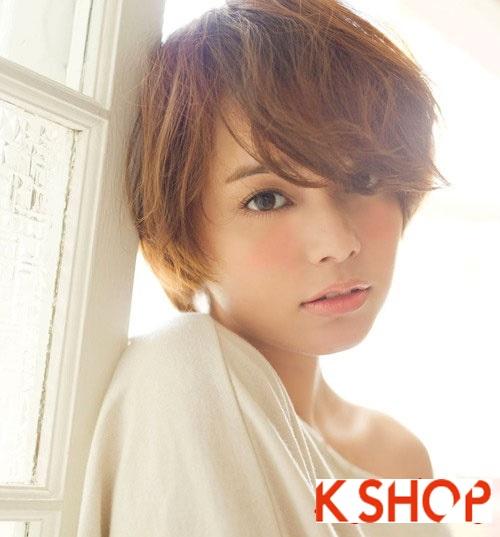 Mẫu Tóc ngắn Hàn Quốc đẹp cho bạn gái khuôn mặt tròn dễ thương cực đáng yêu 2017 phần 9