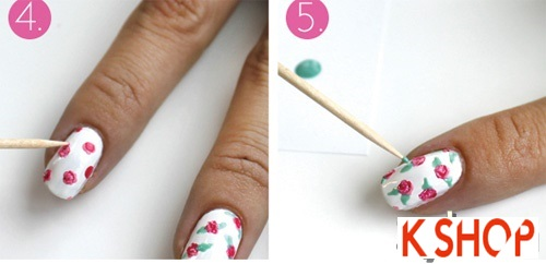 Cách vẽ móng tay đẹp hình hoa hồng dễ thương cho bạn gái thêm cuốn hút phần 3
