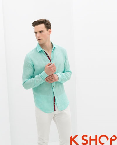 Áo sơ mi nam công sở màu xanh đẹp cực chất thời trang hè 2017 phần 13