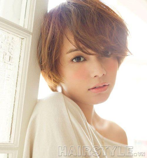 Những kiểu tóc ngắn mái lệch uốn xoăn đẹp Hàn Quốc hot nhất 2017 phần 12