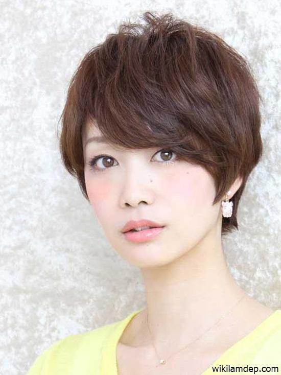 Những kiểu tóc ngắn mái lệch uốn xoăn đẹp Hàn Quốc hot nhất 2017 phần 3