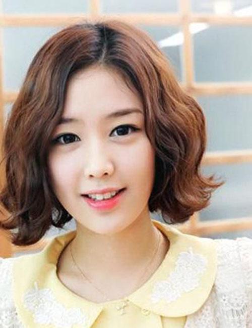 Những kiểu tóc ngắn mái lệch uốn xoăn đẹp Hàn Quốc hot nhất 2017 phần 8