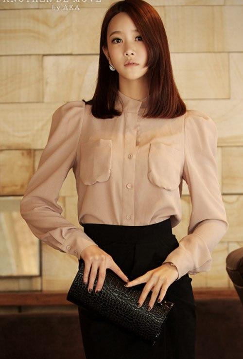12 kiểu áo sơ mi nữ đẹp Hàn Quốc giúp cô nàng công sở trở nên sang trọng quý phái phần 11