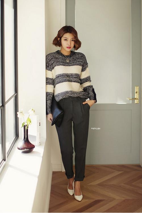 Quần vải ống rộng Hàn Quốc đẹp cho nàng thoải mái nơi công sở phần 8
