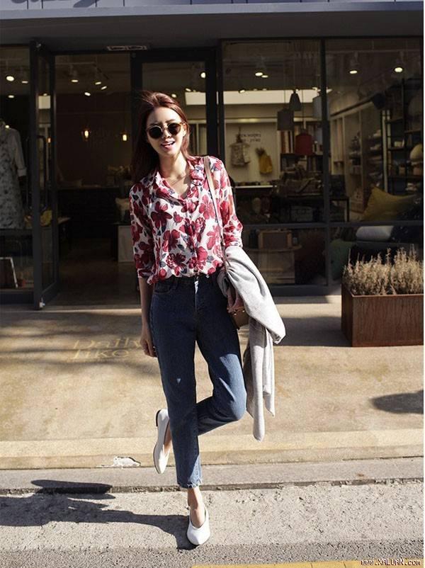 Áo sơ mi nữ công sở đẹp Hàn Quốc cho bạn gái hơi gầy vai ngang hè 2017 phần 1