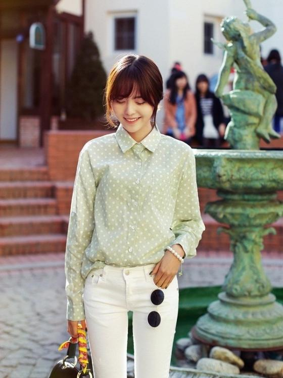 Áo sơ mi nữ công sở đẹp Hàn Quốc cho bạn gái hơi gầy vai ngang hè 2017 phần 2