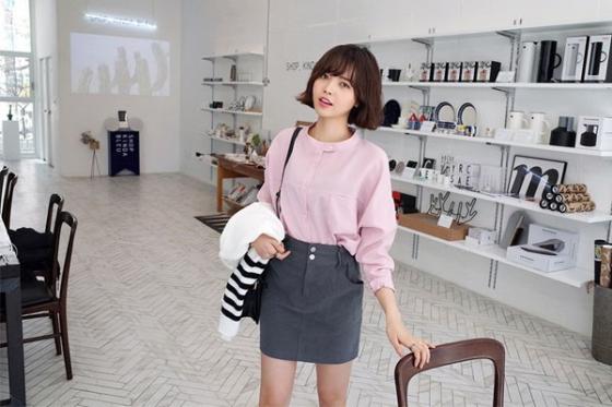 Áo sơ mi nữ công sở đẹp Hàn Quốc cho bạn gái hơi gầy vai ngang hè 2017 phần 9