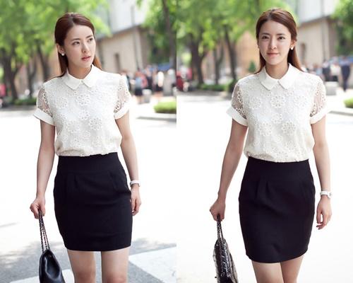 Áo sơ mi nữ phối ren Hàn Quốc đẹp cho nàng công sở nổi bật trong nắng hè phần 2