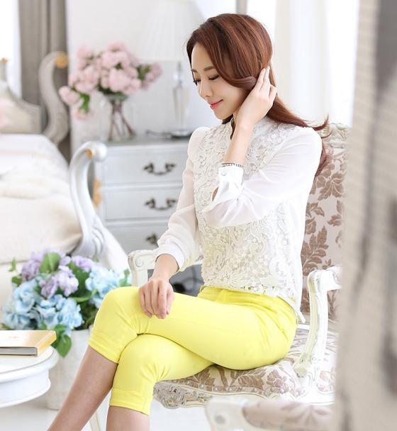 Áo sơ mi nữ phối ren Hàn Quốc đẹp cho nàng công sở nổi bật trong nắng hè phần 4