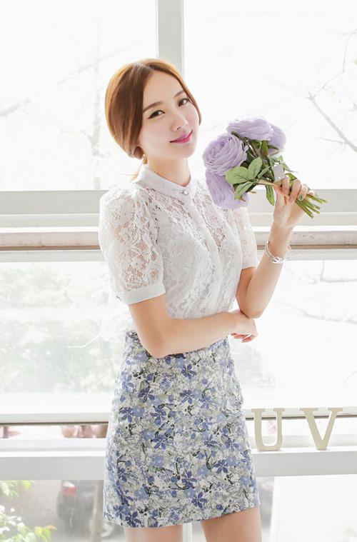 Áo sơ mi nữ phối ren Hàn Quốc đẹp cho nàng công sở nổi bật trong nắng hè phần 6