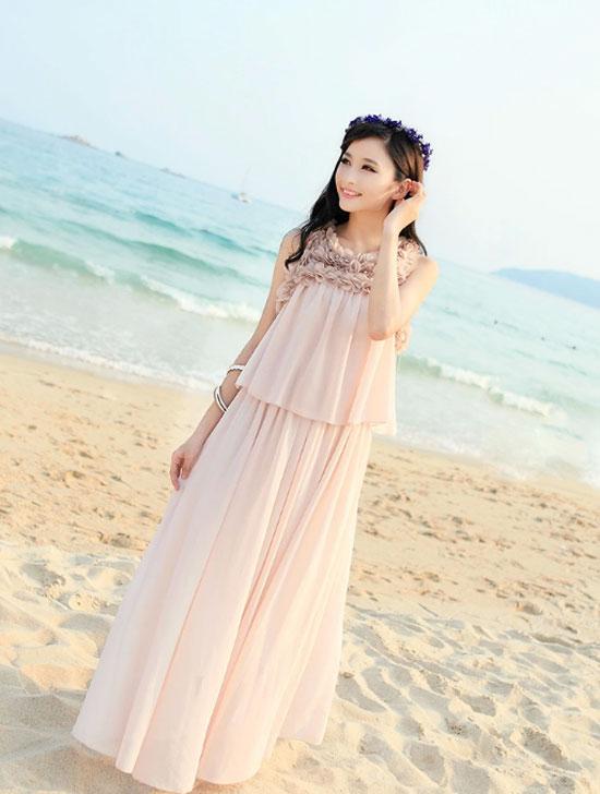 Váy maxi vải voan đẹp cho cô nàng điệu đà dạo biển đón nắng hè 2017 phần 1