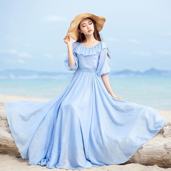 Váy maxi vải voan đẹp cho cô nàng điệu đà dạo biển đón nắng hè 2017 phần 13