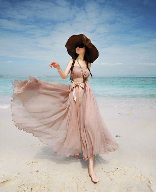 Váy maxi vải voan đẹp cho cô nàng điệu đà dạo biển đón nắng hè 2017 phần 14