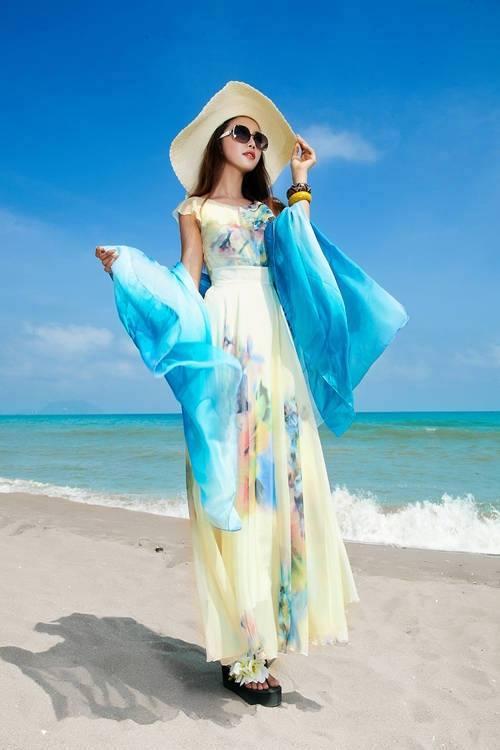 Váy maxi vải voan đẹp cho cô nàng điệu đà dạo biển đón nắng hè 2017 phần 15