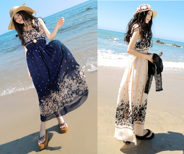 Váy maxi vải voan đẹp cho cô nàng điệu đà dạo biển đón nắng hè 2017 phần 16