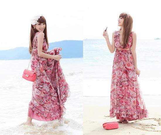 Váy maxi vải voan đẹp cho cô nàng điệu đà dạo biển đón nắng hè 2017 phần 17