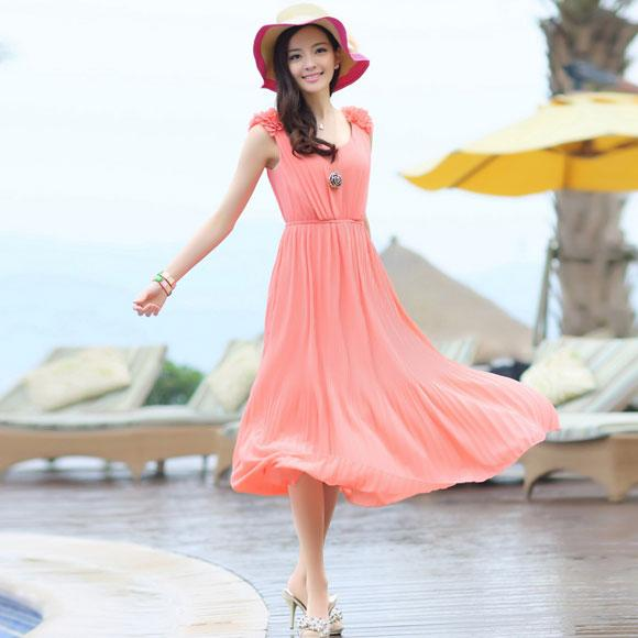 Váy maxi vải voan đẹp cho cô nàng điệu đà dạo biển đón nắng hè 2017 phần 2