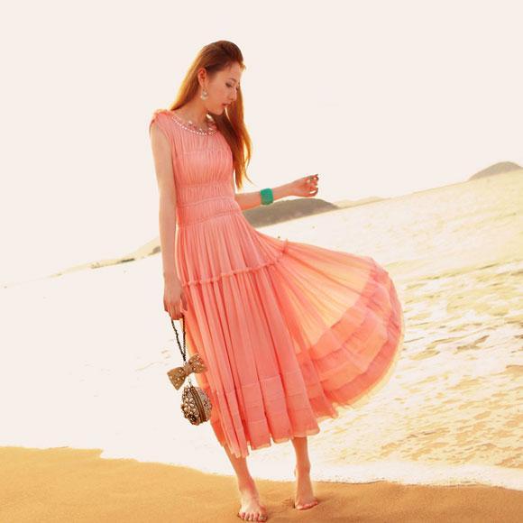 Váy maxi vải voan đẹp cho cô nàng điệu đà dạo biển đón nắng hè 2017 phần 3