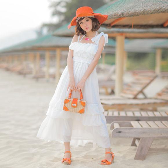 Váy maxi vải voan đẹp cho cô nàng điệu đà dạo biển đón nắng hè 2017 phần 4