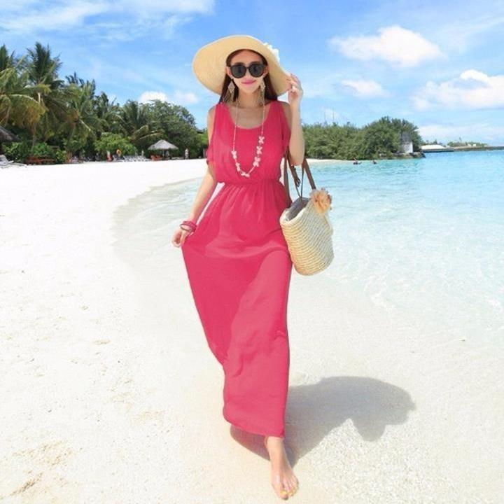 Váy maxi vải voan đẹp cho cô nàng điệu đà dạo biển đón nắng hè 2017 phần 6