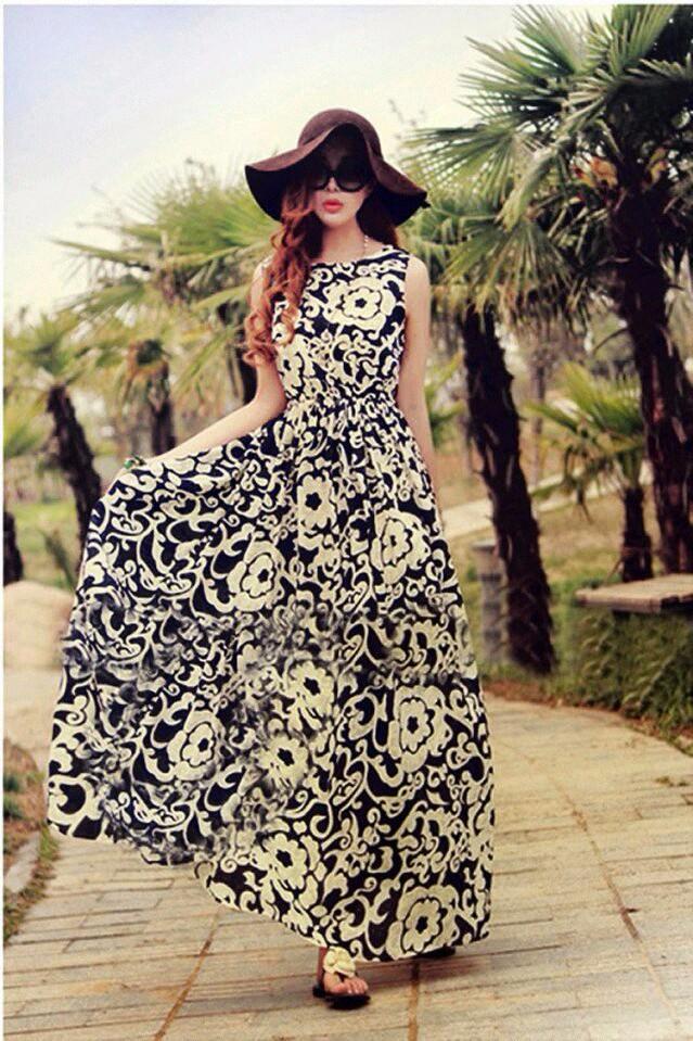Váy maxi vải voan đẹp cho cô nàng điệu đà dạo biển đón nắng hè 2017 phần 7