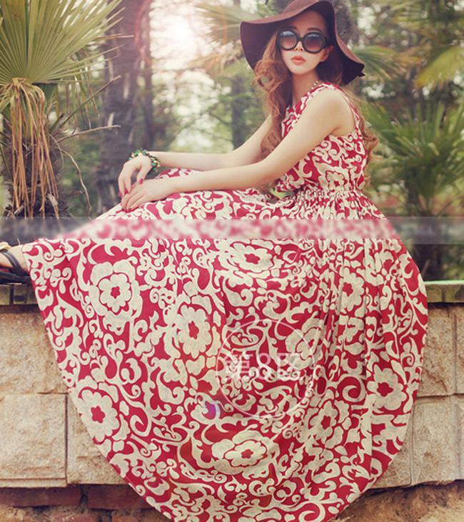 Váy maxi vải voan đẹp cho cô nàng điệu đà dạo biển đón nắng hè 2017 phần 8