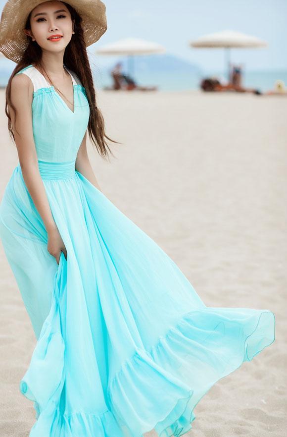 Váy maxi vải voan đẹp cho cô nàng điệu đà dạo biển đón nắng hè 2017 phần 9