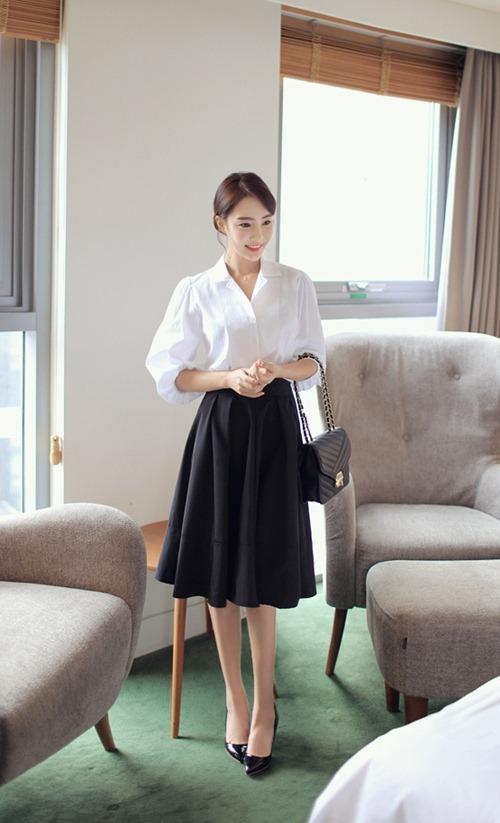 Áo sơ mi nữ trắng đẹp mix với chân váy đen cho nàng công sở hè 2017 phần 12
