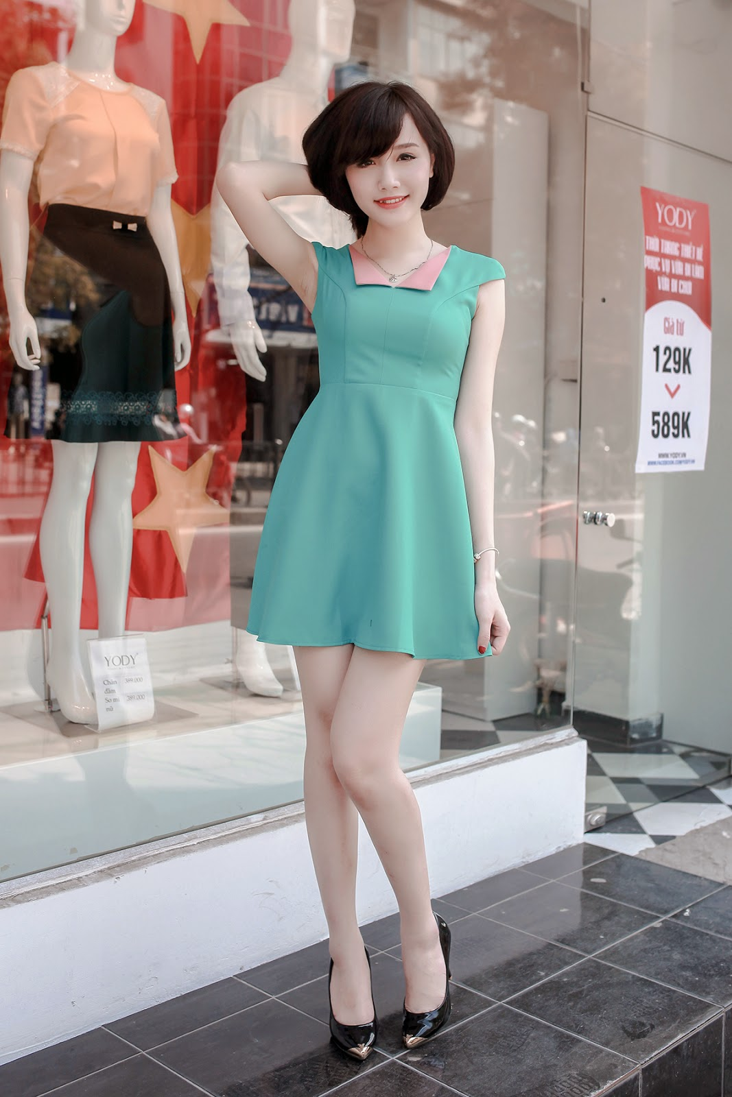 Đầm xòe đẹp Hàn Quốc hè 2015 phong cách trẻ trung cho bạn gái tung tăng dạo phố phần 12