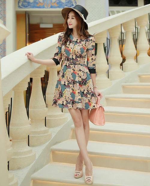 Đầm xòe đẹp Hàn Quốc hè 2015 phong cách trẻ trung cho bạn gái tung tăng dạo phố phần 4