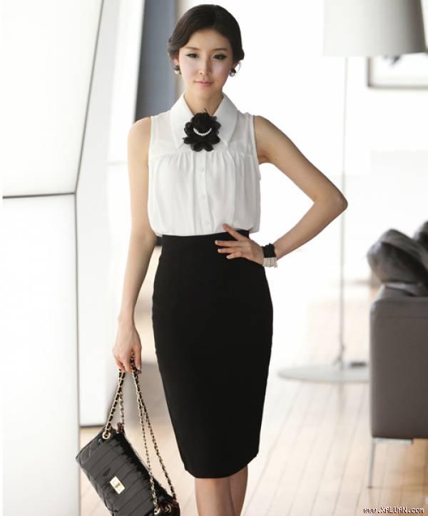 Áo sơ mi nữ trắng đẹp mix với chân váy đen cho nàng công sở hè 2017 phần 1