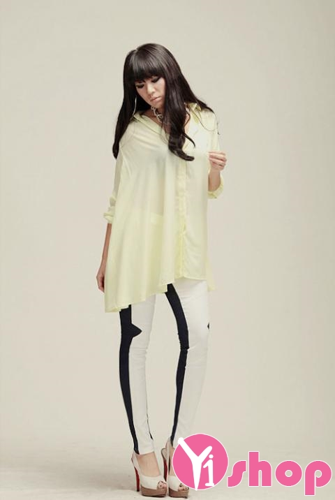 Kiểu áo sơ mi nữ dáng dài đẹp nổi bật và bắt mắt trên phố mùa hè 2017 phần 3