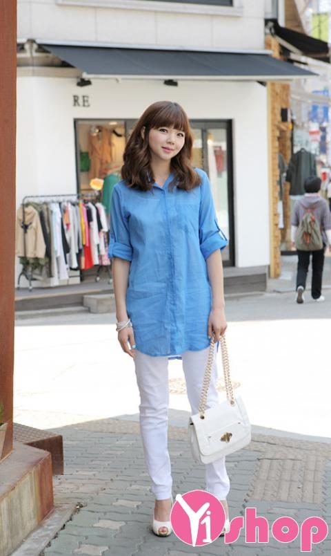 Kiểu áo sơ mi nữ dáng dài đẹp nổi bật và bắt mắt trên phố mùa hè 2017 phần 4