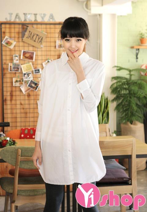 Kiểu áo sơ mi nữ dáng dài đẹp nổi bật và bắt mắt trên phố mùa hè 2017 phần 5
