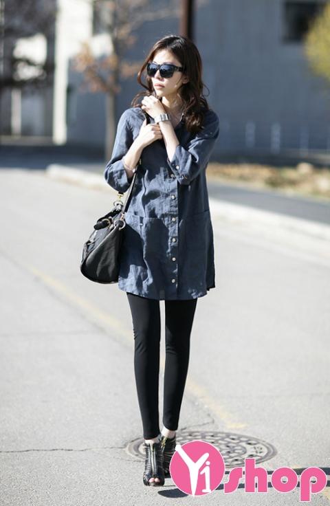Kiểu áo sơ mi nữ dáng dài đẹp nổi bật và bắt mắt trên phố mùa hè 2017 phần 8