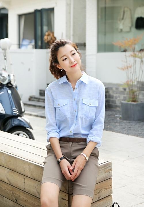 Áo sơ mi nữ dáng rộng Hàn Quốc đẹp cho nàng công sở trẻ trung hè 2017 phần 4