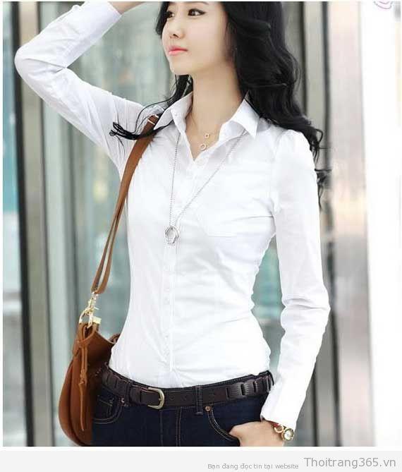 Kiểu áo sơ mi nữ trắng Hàn Quốc đẹp thiết kế mới nhất hiện nay hè 2017 phần 10