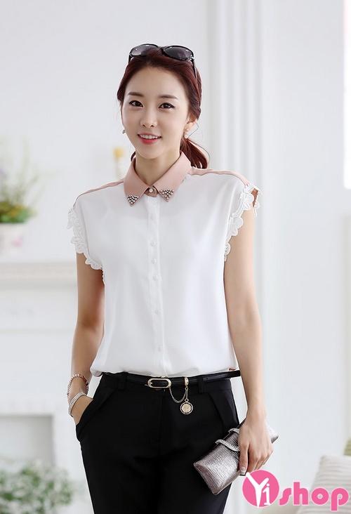 Áo sơ mi nữ vải voan trắng đẹp kiểu hàn quốc hè 2017 cho nàng công sở phần 1