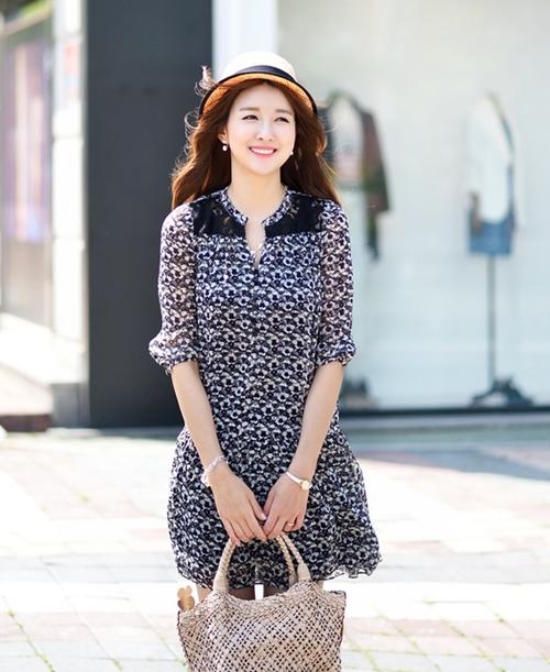 Váy liền thân Hàn Quốc đẹp duyên dáng theo phong cách công sở hè 2017 phần 1