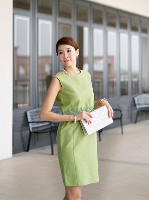 Váy liền thân Hàn Quốc đẹp duyên dáng theo phong cách công sở hè 2017 phần 5