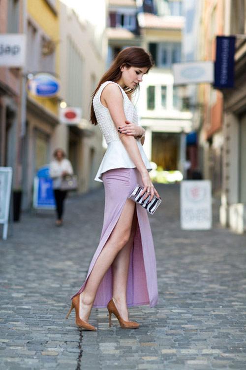 Đầm maxi xẻ đùi đẹp cho nàng chân dài khoe dáng gợi cảm ngày hè 2017 phần 12