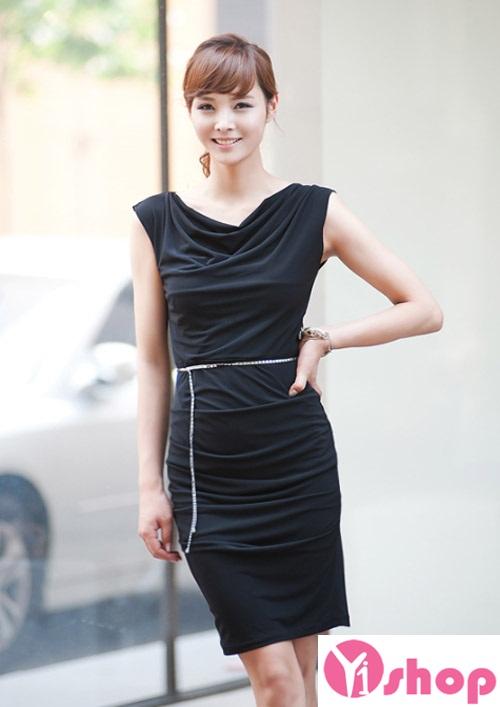 Váy liền thân màu đen đẹp sang trọng cùng nàng tới công sở ngày đầu hè 2017 phần 12