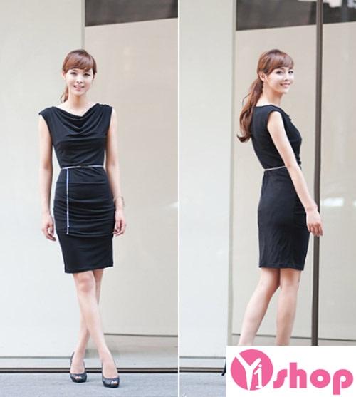 Váy liền thân màu đen đẹp sang trọng cùng nàng tới công sở ngày đầu hè 2017 phần 13