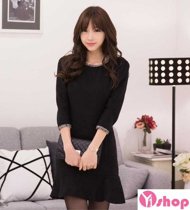 Váy liền thân màu đen đẹp sang trọng cùng nàng tới công sở ngày đầu hè 2017 phần 6